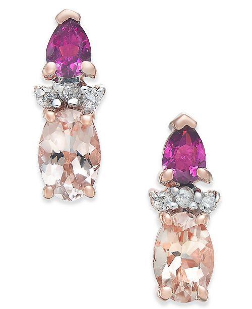 Macy's Multi-Gemstone (1-1/3 ct. t.w.) & Diamond Accent Stud Earrings in 14k Rose Gold