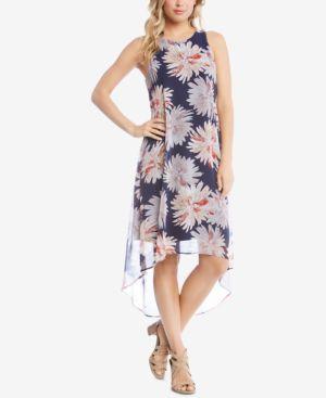 Karen Kane Printed Sleeveless High-Low Dress 5860792