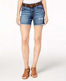 Style & Co Petite Belted Denim Shorts, Created for Macy's