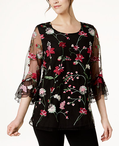 Alfani Embroidered Bell-Sleeve Top, Created for Macy's