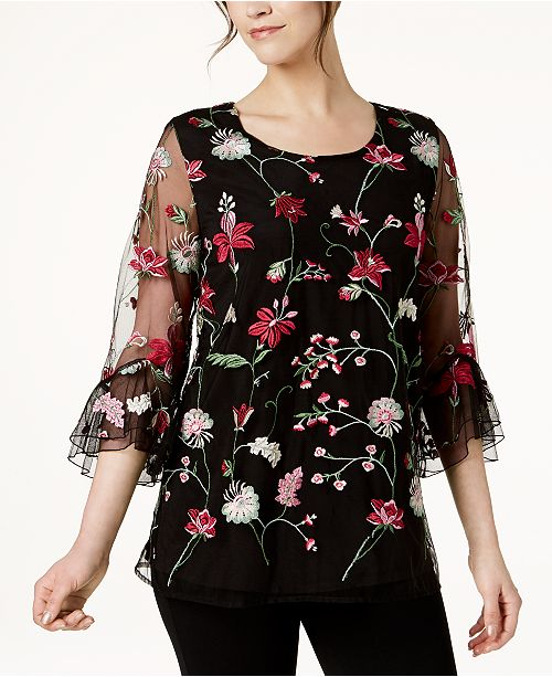 65b159f3bf142 ... Alfani Embroidered Bell-Sleeve Top