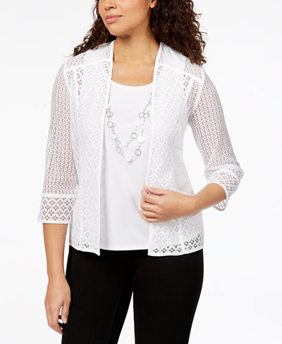Alfred Dunner Charleston Open-Lace Layered-Look Necklace Top