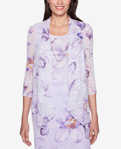 Alfred Dunner Roman Holiday Layered-Look Lace Necklace Top