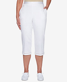 Alfred Dunner Charleston Pull-On Lattice-Trim Capri Pants