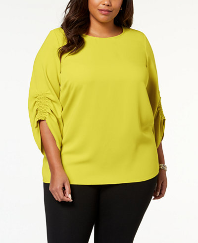 Alfani Plus Size Smocked-Sleeve Top, Created for Macy's