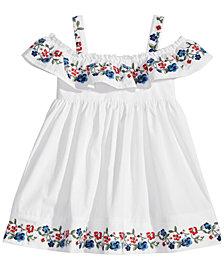 Blueberi Boulevard Cold-Shoulder Cotton Dress, Baby Girls