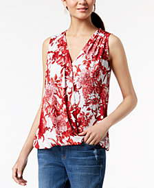 I.N.C. Printed Sleeveless Surplice Top, Created for Macy's
