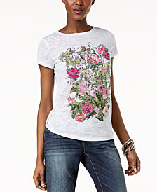 I.N.C. Embroidered Burnout T-Shirt, Created for Macy's