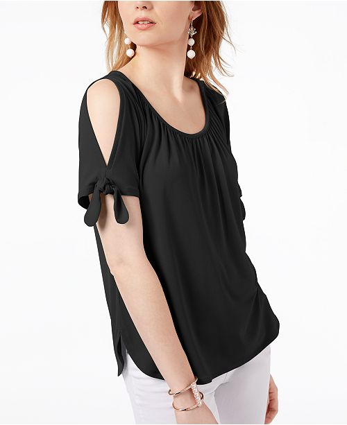 0a1504cf9dbca4 INC International Concepts I.N.C. Cold-Shoulder Tie-Sleeve Top ...