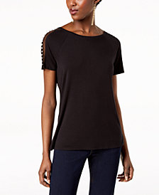 I.N.C. Petite Mesh-Inset Pearl-Trim Top, Created for Macy's