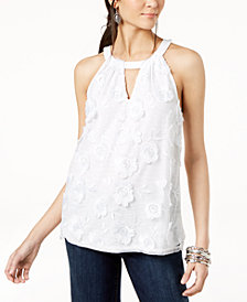 I.N.C. Textured Lace-Front Halter Top, Created for Macy's