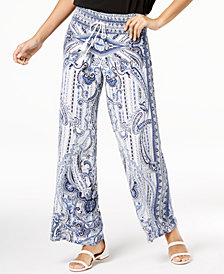 I.N.C. Printed Wide-Leg Pants, Created for Macy's