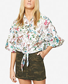 Sanctuary Clover Cotton Floral-Print Tie-Waist Blouse