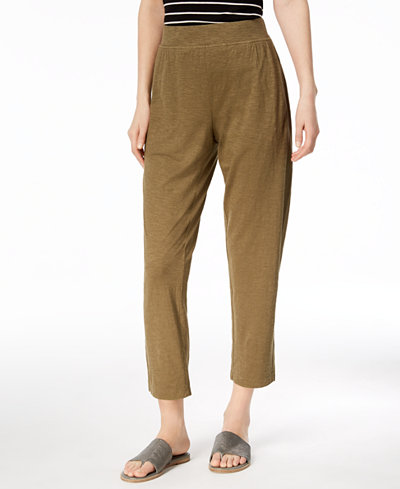 Eileen Fisher Organic Cotton Blend Pull-On Ankle Pants, Created for Macy's