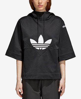 Adidas Clrdo Trefoil Cotton Short Sleeve Hoodie Tops Women Macys