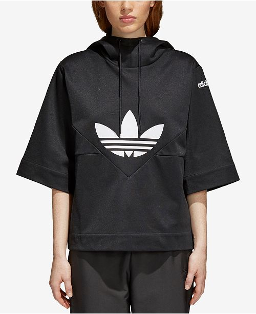 Adidas Clrdo Trefoil Cotton Short Sleeve Hoodie Tops Women Macys