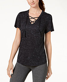 Ideology V-Neck Lace-Up T-Shirt, Created for Macy's