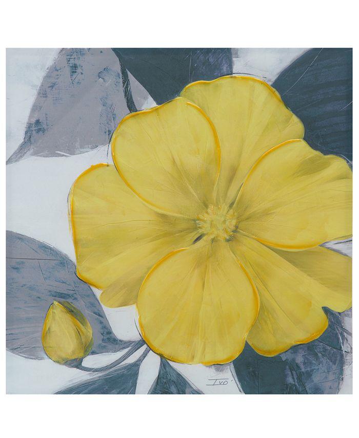 "JLA Home - Madison Park 'Yellow Bloom' 30"" x 30"" Hand-Embellished Canvas Print"