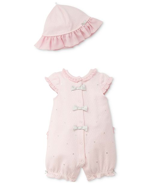 2-Pc. Shiny Dot Cotton Romper & Hat Set, Baby Girls