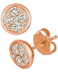 Strawberry & Nude™ Diamond Cluster Stud Earrings (1/2 ct. t.w.) in 14k Rose Gold