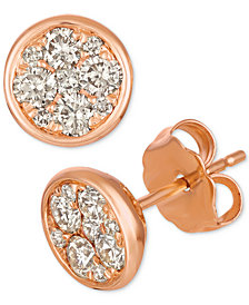 Le Vian Strawberry & Nude™ Diamond Cluster Stud Earrings (1/2 ct. t.w.) in 14k Rose Gold