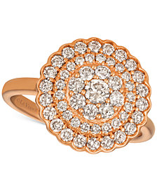Le Vian Strawberry & Nude™ Diamond Halo Cluster Ring (1 ct. t.w.) in 14k Rose Gold