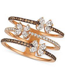 Le Vian Chocolatier® Diamond Butterfly Openwork Ring (7/8 ct. t.w.) in 14k Rose Gold