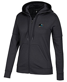 adidas Women's San Jose Sharks Logo Stitched Full-Zip Hooded Sweatshirt