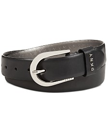 DKNY Plus-Size Belt With Metal Logo Letters, Created for Macy's