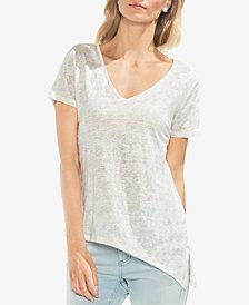 Vince Camuto Printed Asymmetrical Linen T-Shirt