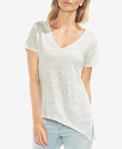 Vince Camuto Printed Asymmetrical Linen T-Shirt