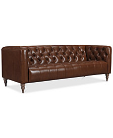 "CLOSEOUT! Tosi 84"" Leather Sofa, Created for Macy's"