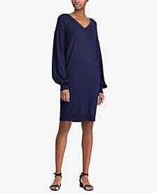 Lauren Ralph Lauren Bishop-Sleeve V-Neck Dress