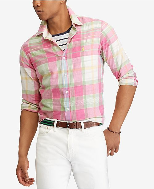 24161dcf28 Polo Ralph Lauren Men s Big   Tall Classic Fit Madras Shirt ...