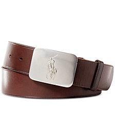 Polo Ralph Lauren Men's Belt, Vacchetta Leather Logo Plaque