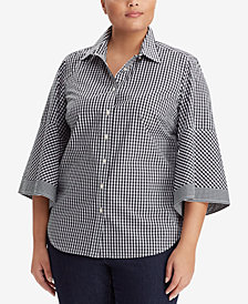 Lauren Ralph Lauren Plus Size Gingham Cotton Shirt