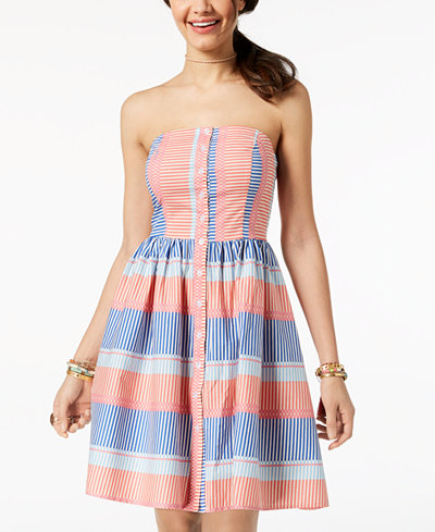 Be Bop Juniors' Striped Strapless Fit & Flare Dress