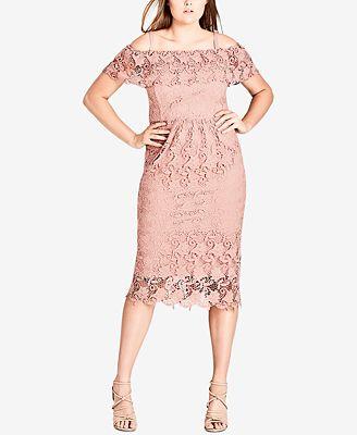City Chic Trendy Plus Size Lace Off The Shoulder Dress Dresses