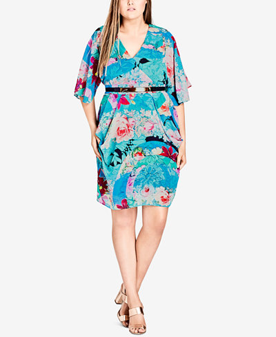 City Chic Trendy Plus Size Belted Wrap Dress