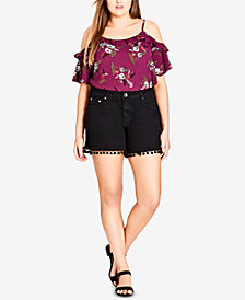 City Chic Trendy Plus Size Pom Pom Denim Shorts