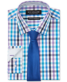 Nick Graham Men's Slim-Fit Stretch Easy-Care Multi Check Dress Shirt & Textured Solid Tie Set