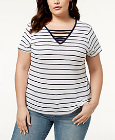 ABASIX Trendy Plus Size Ladder-Front T-Shirt