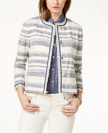 Tommy Hilfiger Ruffle-Trim Striped Jacket
