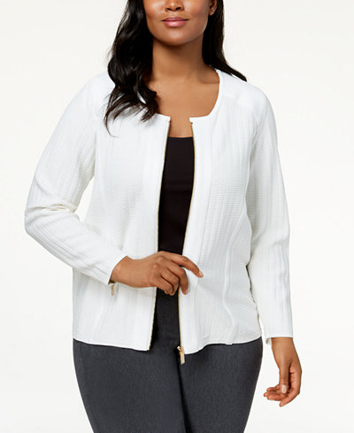 Calvin Klein Plus Size Stitched Knit Moto Jacket
