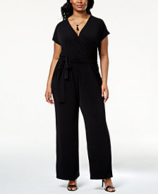 Alfani Plus Size Wide-Leg Jumpsuit, Created for Macy's