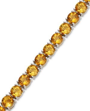 Sterling Silver Citrine Row Bracelet (17-1/2 ct. t.w.)
