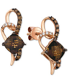 Le Vian Chocolatier® Chocolate Quartz® (1-5/8 ct. t.w.) & Diamond (1/5 ct. t.w.) Drop Earrings in 14k Rose Gold