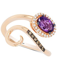 Chocolatier® Grape Amethyst™ (3/4 ct. t.w.) & Diamond (1/8 ct. t.w.) Bypass Ring in 14k Rose Gold