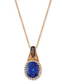 "Chocolatier® Blueberry Tanzanite (2-1/2 ct. t.w.) & Diamond (1/4 ct. t.w.) 18"" Pendant Necklace in 14k Rose Gold"
