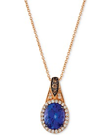 "Le Vian Chocolatier® Blueberry Tanzanite (2-1/2 ct. t.w.) & Diamond (1/4 ct. t.w.) 18"" Pendant Necklace in 14k Rose Gold"